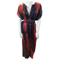 Oscar de la Renta Red Print SIlk Dress