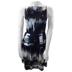 Max Mara Black and White Print Dress