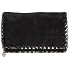 2010 Stella Mccartney Black Artificial Leather Falabella Foldover Clutch