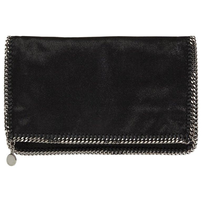 21054921eb0 2010 Stella Mccartney Black Artificial Leather Falabella Foldover Clutch  For Sale