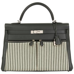 2016 Hermès Vert Fonce Swift Leather & Vert Anglais Ecru Canvas Riga Kelly 35cm