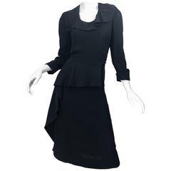 1940s Black Crepe Long Sleeve Chic Asymmetrical Peplum Vintage 40s Dress