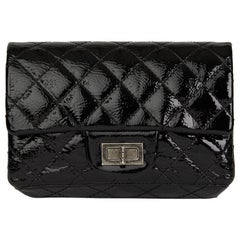 2007 Chanel Black Quilted Aged Patent Leather 2.55 Reissue Clutch