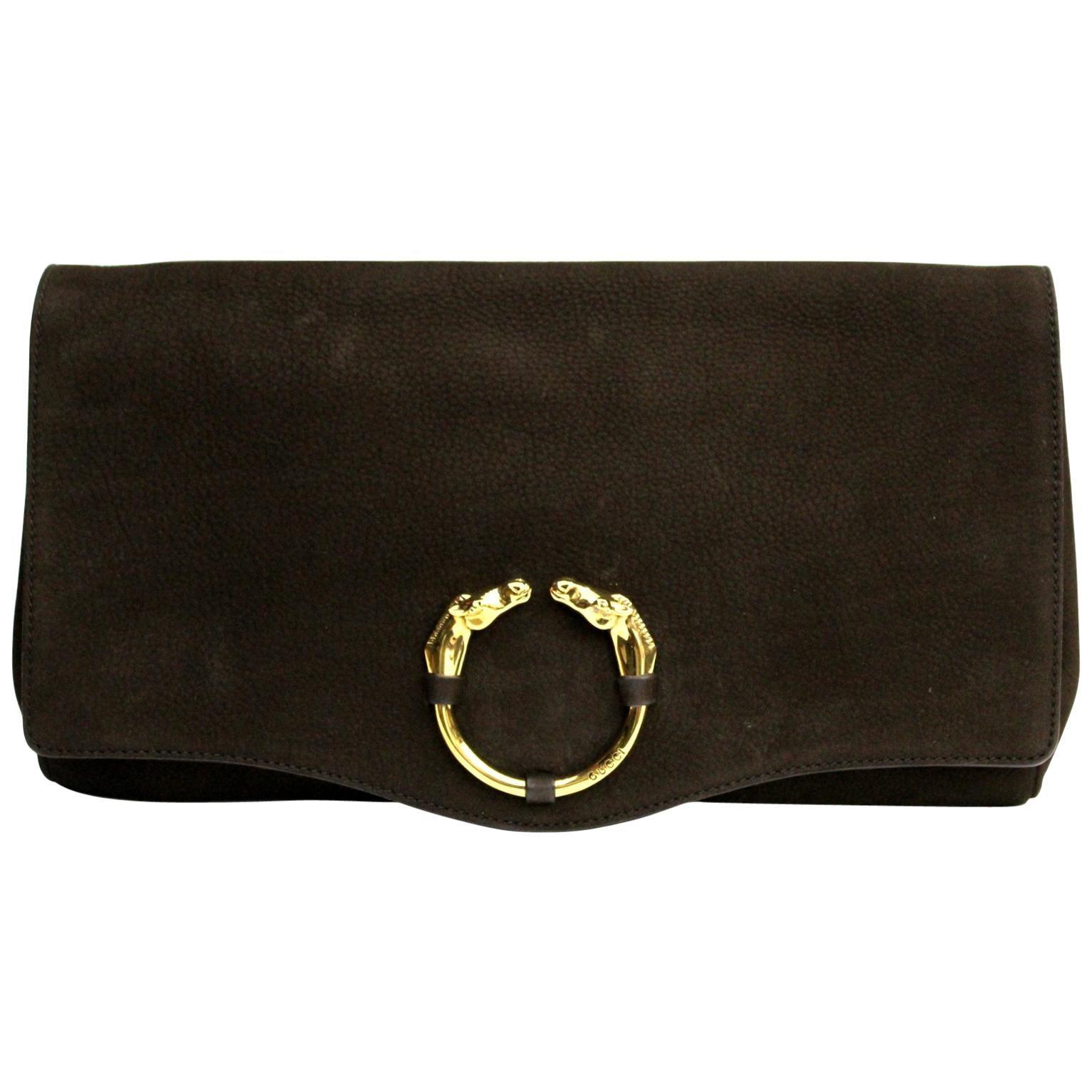 Gucci Brown Suede Clutch Bag