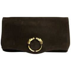 Gucci Brown Suede Clutch Bag