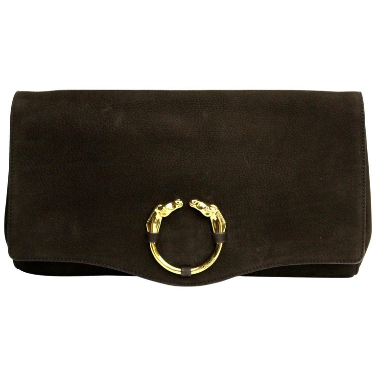f812489aec57b4 Gucci Brown Suede Clutch Bag For Sale at 1stdibs