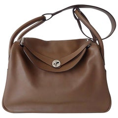 Hermès Lindy Hand Bag 2 ways Light Brown Swift Leather PHW 34 cm