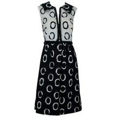 Oscar de la Renta Textured Bead-Trim Shirtwaist Dress, 1960s