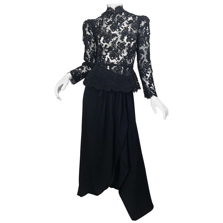 Vintage Vicky Tiel Couture 1980s Black Lace Victorian Top + Asymmetrical Skirt For Sale
