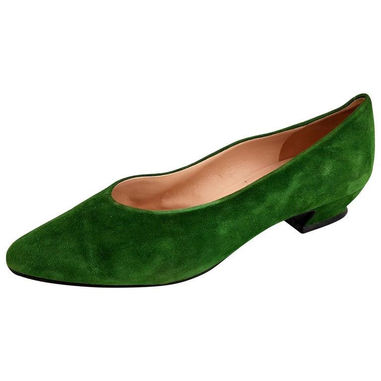 c84aed58c3 HomeFashionClothingShoes. Jil Sander's Green Suede Ballerines - Size 39.5 ( EU) For Sale