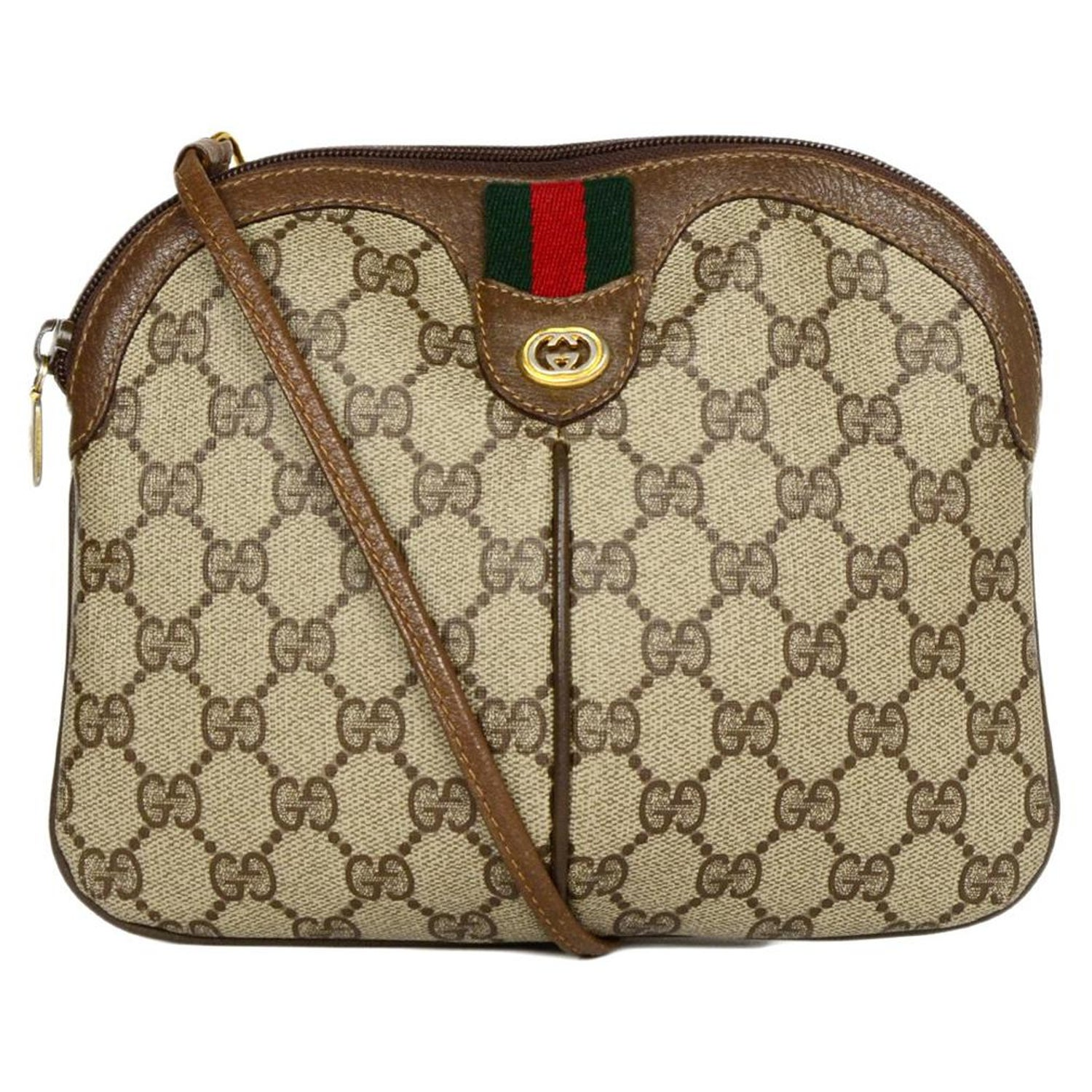 01b027940650 Gucci Vintage GG Monogram/Leather Supreme Crossbody Bag W/ Web For Sale at  1stdibs