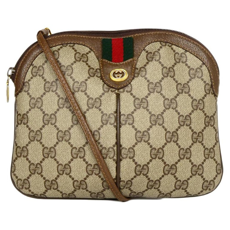 5c0bdb6a59b317 Gucci Vintage GG Monogram/Leather Supreme Crossbody Bag W/ Web For Sale