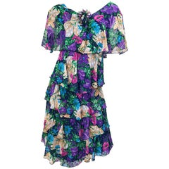 Vintage Justin David Flapper Style Large Size 1980s Chiffon Floral 80s Dress