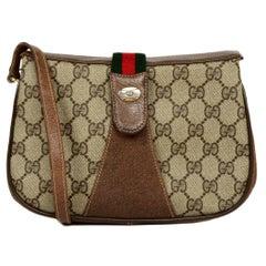 Gucci Vintage GG Monogram Canvas Supreme Crossbody Bag W/ Web