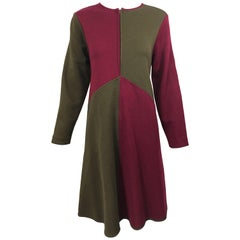 Vintage Harve Benard 1960s Style Maroon Burgundy + Brown Knit Wool Swing Dress