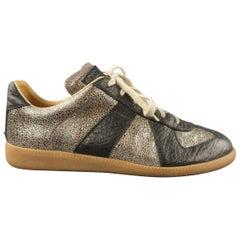 MAISON MARTIN MARGIELA Size 7 Black & Silver Low Top Replica Sneakers