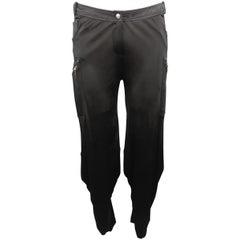CHRISTIAN DIOR Size 12 Black Sheer Bondage Strap Cargo Pants