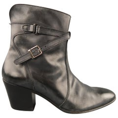 JEAN-MICHEL CAZABAT Size 8 Black & Grey Antique Leather Wrap Around Boots