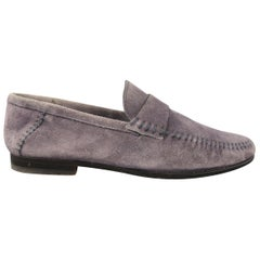 SANTONI Size 7.5 Slate Solid Suede Slip On Loafers Shoes