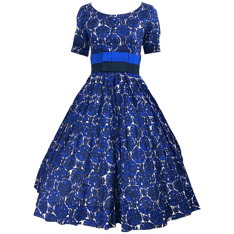 1950s Bonwit Teller Demi Couture Blue Abstract Floral Fit n' Flare Vintage Dress For Sale