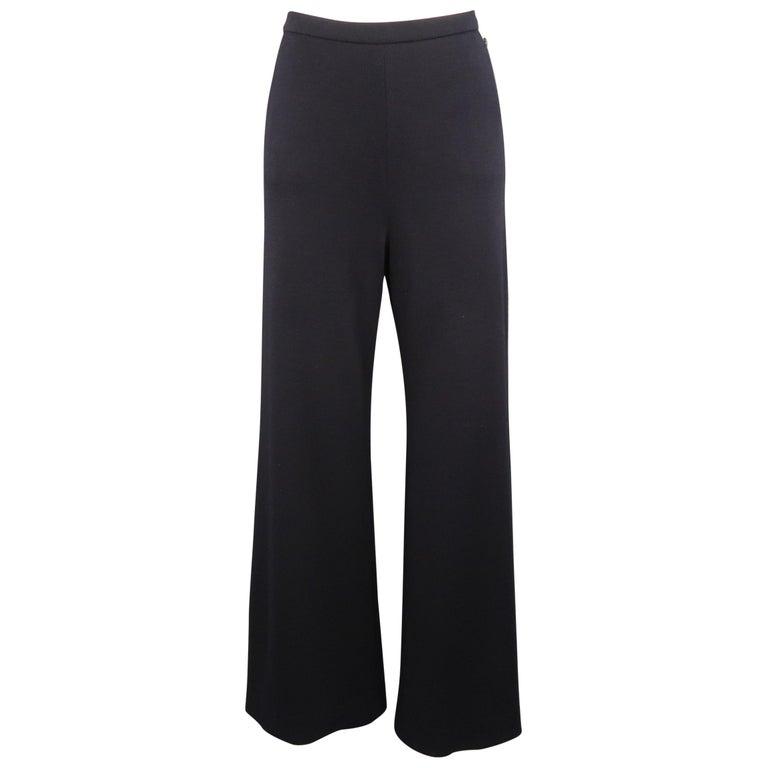 CHANEL Size 10 Navy Wool Jersey Wide Leg Silk Lined Pants For Sale