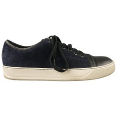 LANVIN US 7 Navy & Black Two Toned Suede Lace Up Sneakers