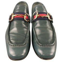 GUCCI Size 7 Blue Solid Leather Slip On Loafers