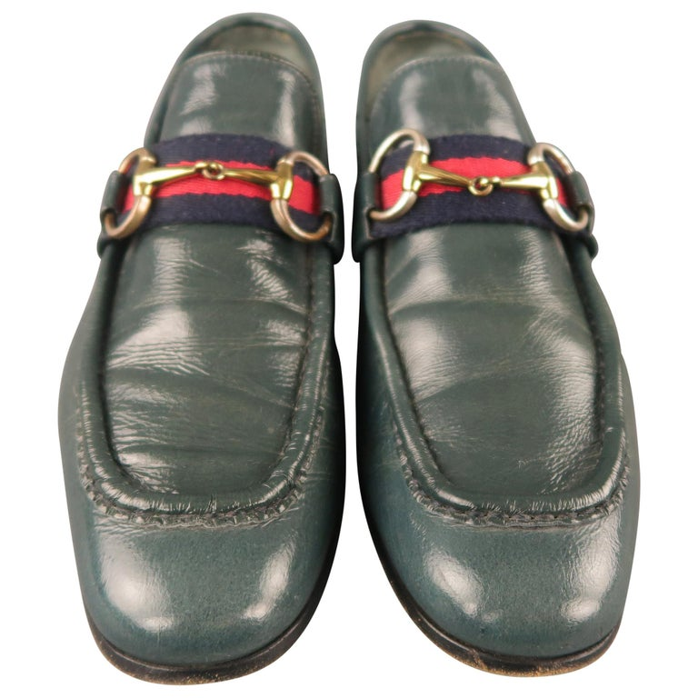 66701302189 GUCCI Size 7 Blue Solid Leather Slip On Loafers For Sale at 1stdibs