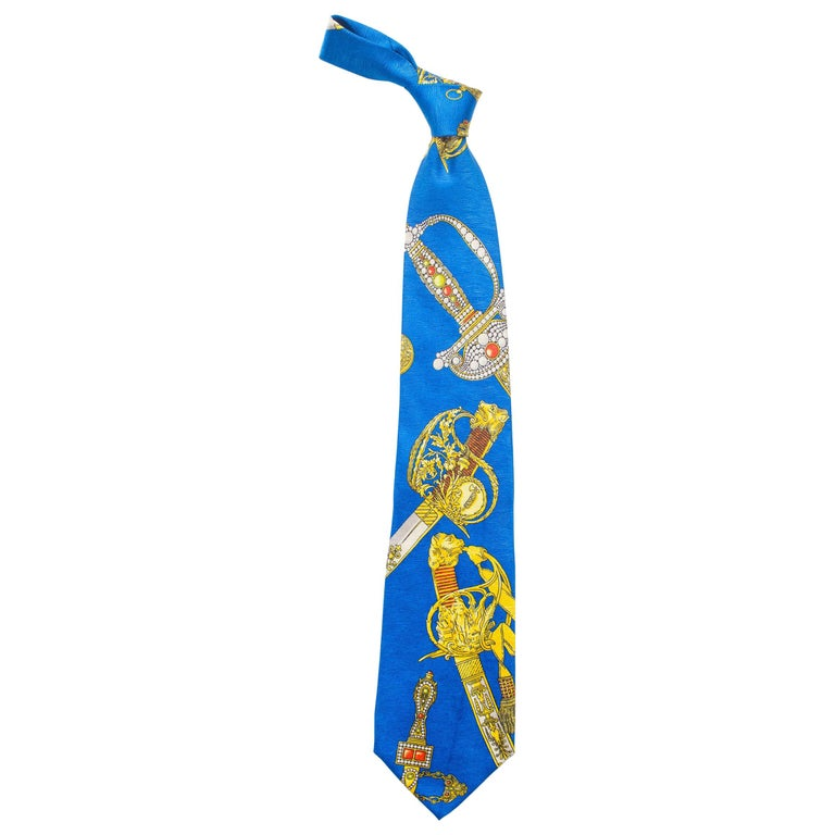 1990s Gianni Versace Bright Blue Mens Silk Tie With Gold Swords For Sale