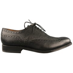 GRENSON Size 8 Black Perforated Leather Wingtip Lace Up