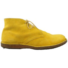 JIL SANDER Size 9 Yellow Solid Suede Lace Up Boots