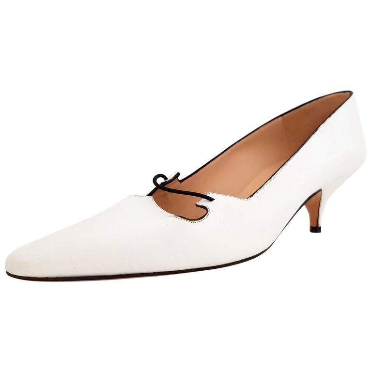 00738b222775c3 Manolo Blahnik Weiße Leder Heels - neu Größe 39 1 2 (EU) im Angebot ...