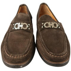SALVATORE FERRAGAMO Size 13 Brown Solid Suede Slip On Loafers
