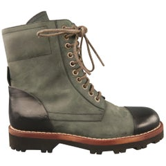DOLCE & GABBANA Size 8.5 Slate Two Toned Leather Lace Up Boots