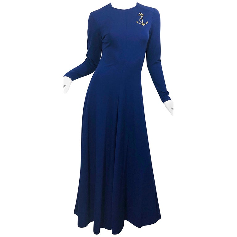 Amazing 1970s Nautical Navy Blue + Gold Anchor Patch Vintage Jersey maxi Dress For Sale
