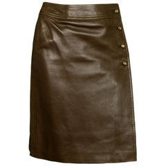 Chanel '96 Brown Leather Wrap Skirt W/ Side CC Buttons Sz 38