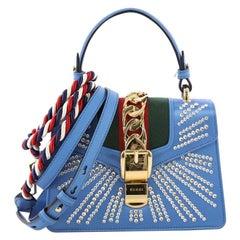 Gucci Sylvie Top Handle Bag Crystal Embellished Satin Mini