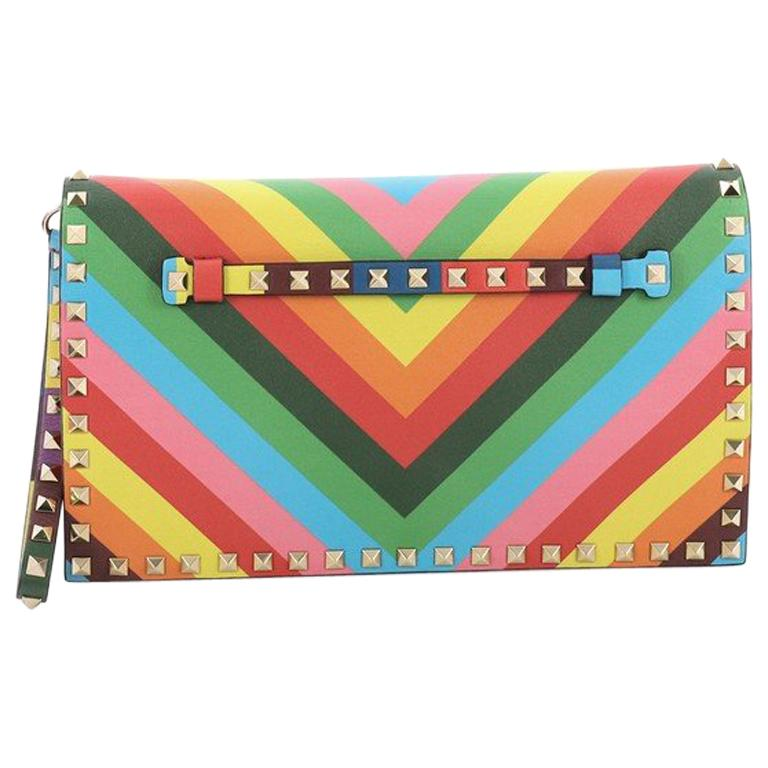 Valentino 1973 Rockstud Flap Clutch Striped Leather For Sale