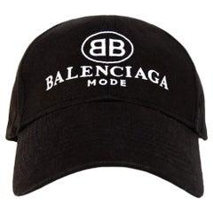 Balenciaga Black/White BB Mode Logo Cotton Baseball Cap Hat Unisex Sz L