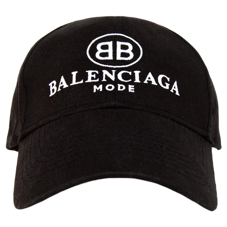0fe573b1d6687 Balenciaga Black White BB Mode Logo Cotton Baseball Cap Hat Unisex Sz L For  Sale