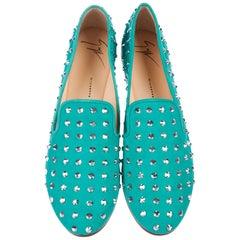 New Giuseppe Zanotti Mirrored Studs Embellished Aquamarine Flats Loafers 38 - 8