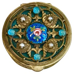 Circa 1920s Ornate French Jeweled and Enameled Powder Compact