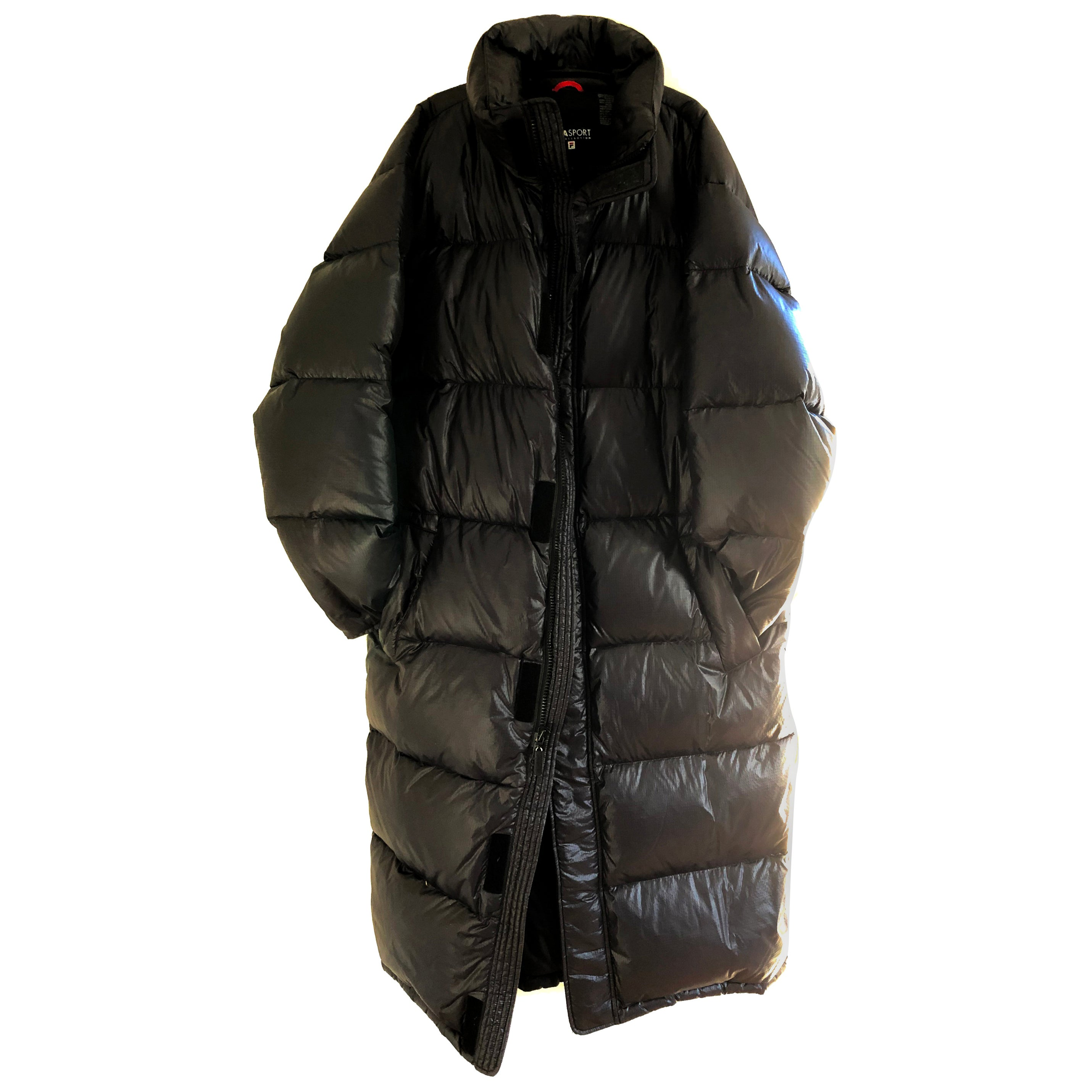 db4b8d2024922 Rare unisex Italian FILASPORT warm Down puffer long statement black coat  For Sale at 1stdibs