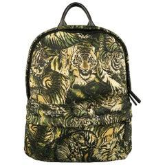 ROBERTO CAVALLI Green Tiger Print Canvas Backpack