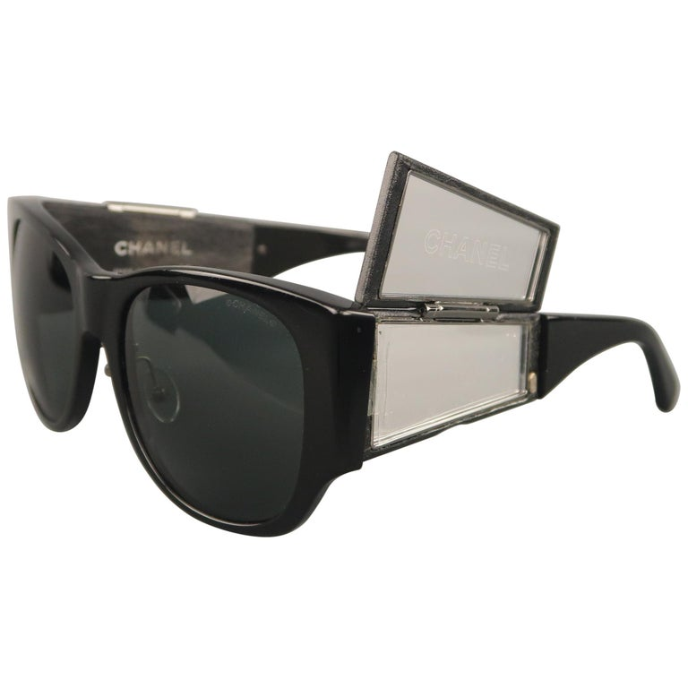 2ed4b8e4f5 1990 s CHANEL Black Quilted Leather Flip Up Mirror Arm 5202 Sunglasses at  1stdibs