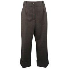DOLCE & GABBANA Size 6 Charcoal & Red Chalkstripe Wool Cuffed Dress Pants