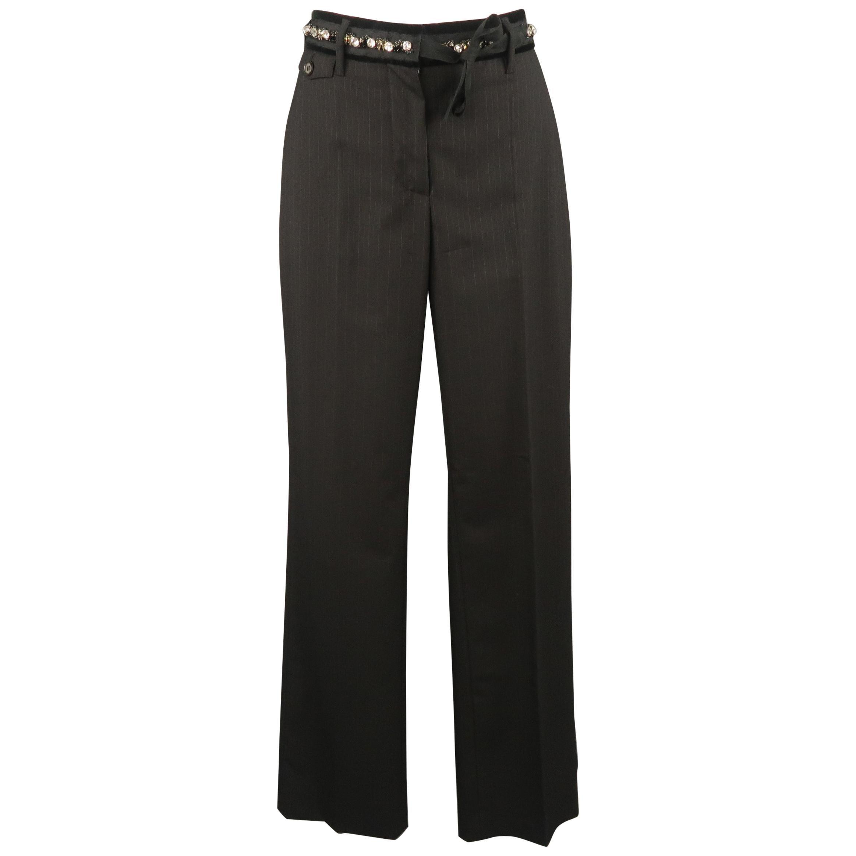 PRADA Size 4 Black Striped Virgin Wool Rhinestone Waistband Dress Pants