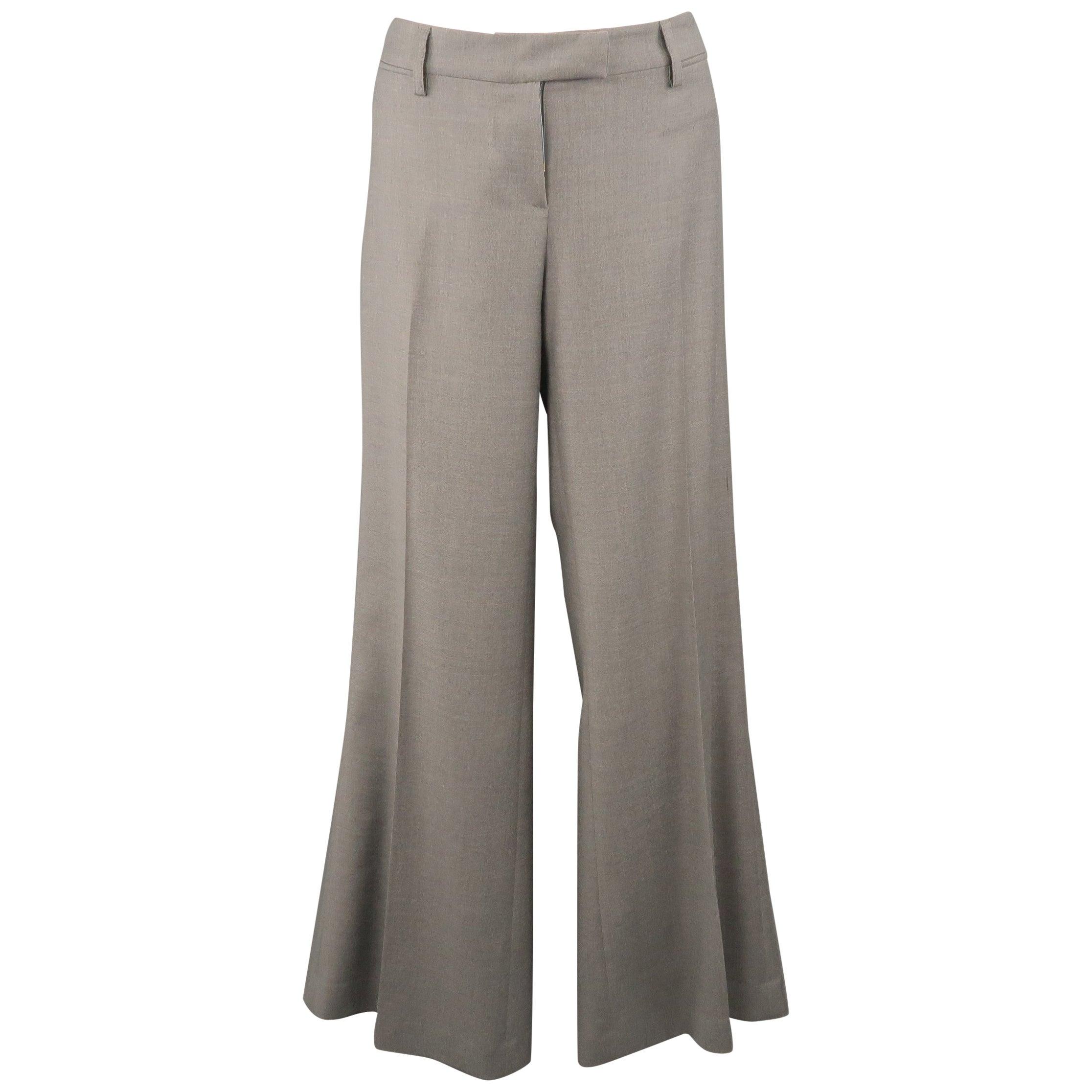 EMILIO PUCCI Size 10 Gray Virgin Wool Wide Leg Dress Pants