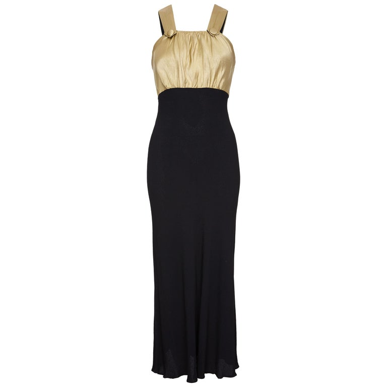 Vintage 1930s Black Silk Dress with Embossed Gold Bodice For Sale