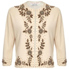 Lil and Sue 1960s Soft Cream Angora Cardigan With Gold Tone Beadwork